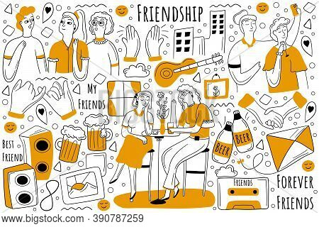 Friendship Doodle Set. Collection Of Hand Drawn Sketche Templates Patterns Of Happy Male Female Frie