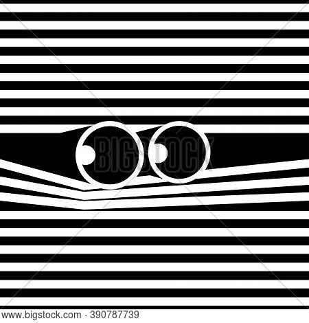 Someone Is Looking Through Binoculars Peeping Through Blinds. Vector.
