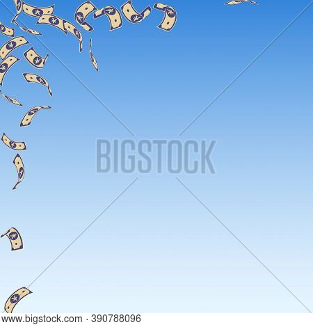 Chinese Yuan Notes Falling. Sparse Cny Bills On Blue Sky Background. China Money. Divine Vector Illu