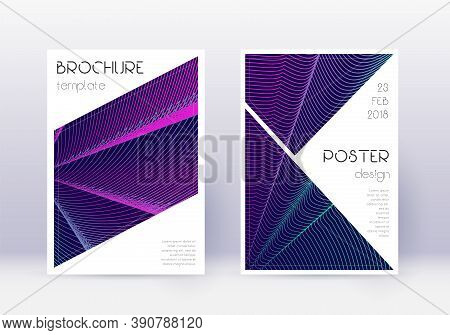 Triangle Cover Design Template Set. Neon Abstract Lines On Dark Blue Background. Ideal Cover Design.