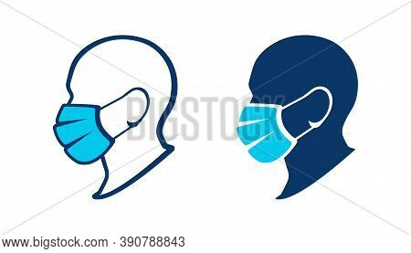 Silhouette Of A Man In A Medical Mask. Protective Face Mask. Wear A Face Mask, Vector Icon
