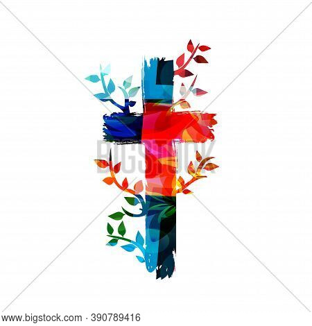 Colorful Christian Cross Isolated Vector Illustration. Religion Themed Background. Design For Christ