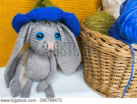 Hand Made Knitted Sad Hare. Rabbit Amigurumi. Knitted Toys