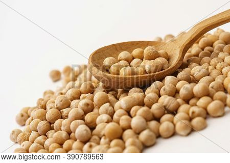 Chickpeas. A Handful Of Chickpea Isolated On A White Background.