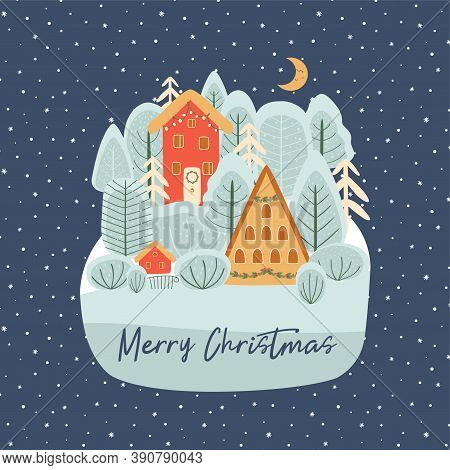 Christmas Village Illustration Christmas Landscape At Night. Snowy Merry Christmas Town, Forest, Moo