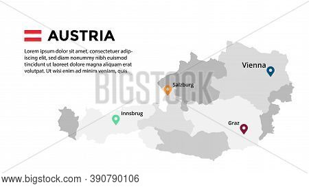 Austria Vector Map Infographic Template. Slide Presentation. Vienna, Salzburg, Innsbrug, Graz. Color