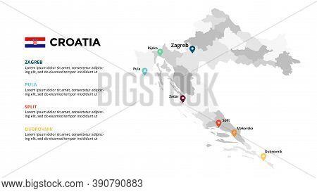Croatia Vector Map Infographic Template. Slide Presentation. Zagreb, Pula, Split, Dubrovnik. Europe