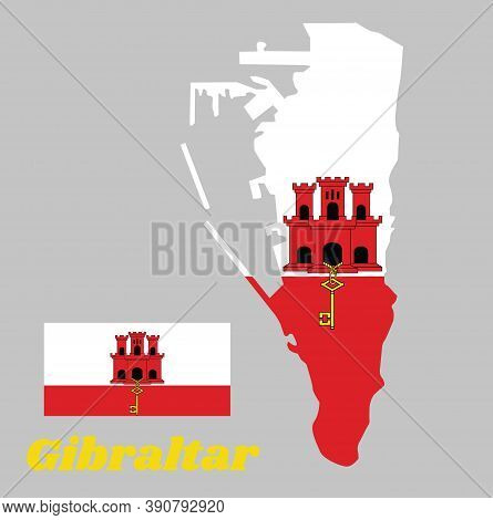 Map Outline And Flag Of Gibraltar. White With A Red Stripe With Three Towered, Each Tower Has A Door