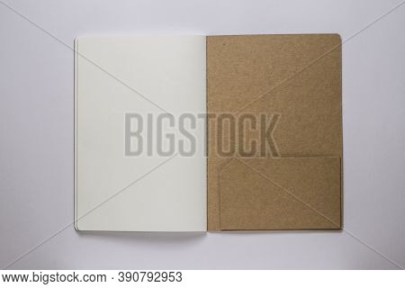 A Blank Book On White Background Stock Photo