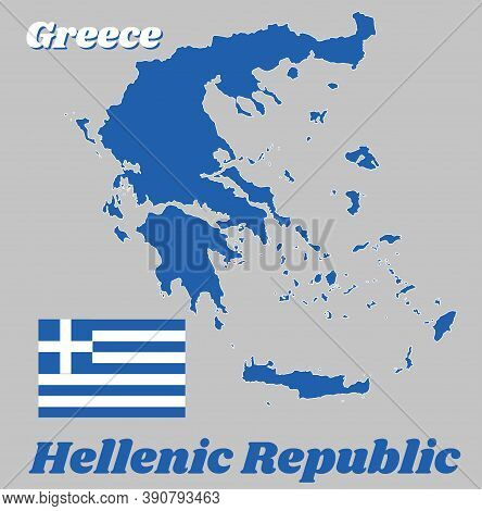 Map Outline And Flag Of Greece, Nine Horizontal Stripes, In Turn Blue And White; A White Cross On A