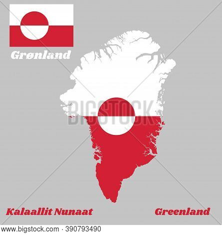 Map Outline And Flag Of Greenland, A Horizontal Bicolor Of White And Red, With A Counterchanged Disk