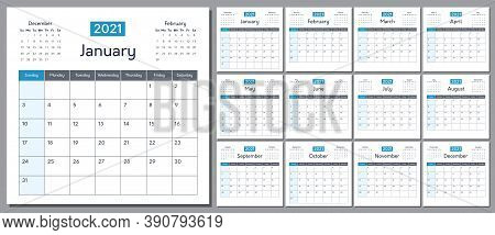 Calendar For 2021 New Year, Week Starts On Sunday. Template Planner For Schedule, Events And Holiday