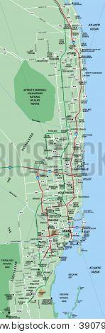 Miami, Florida Metropolitan Area Map