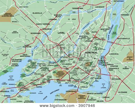 Map For The Greater Montreal Metropolitan Area