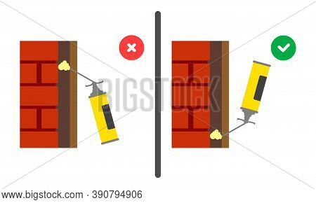 Working With A Household Cylinder. Polyurethane Mounting Foam Balloon Icon. Right And Wrong Use Of M