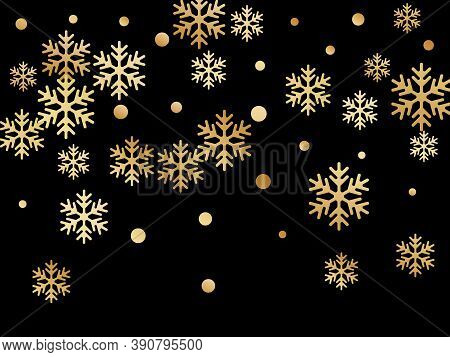 Crystal Snowflake And Circle Shapes Vector Backdrop. Windy Winter Snow Confetti Scatter Banner Backg