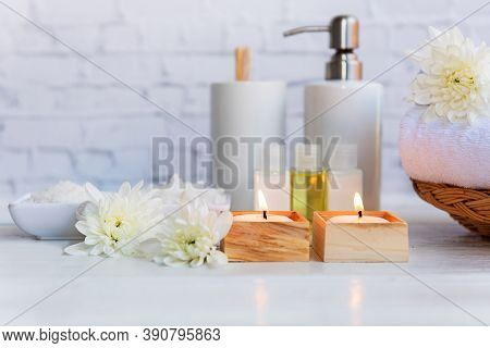 Spa Beauty Massage Health Wellness. Spa Thai Therapy Treatment Aromatherapy For Body Woman With Whit