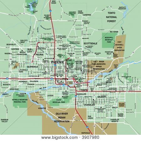 Phoenix, Arizona Metropolitan Area Map