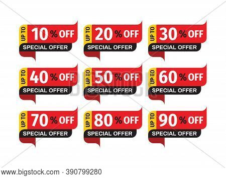Sale Price-tag Badges Design Set. Discount Up To 10, 20, 30, 40, 50, 60, 70, 80, 90 % Off. Clearance