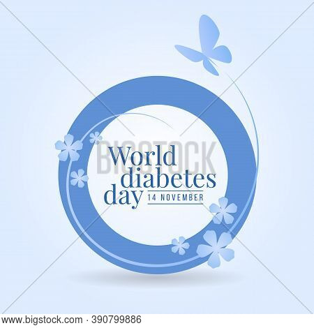 World Diabetes Day Banner With Flower And Butterfly Flying Around On Blue Circle Ring Sign Vector De