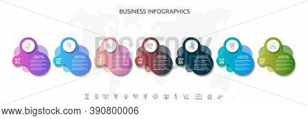 7 Steps Infographics With Abstract Labels. Vector Template Seven Part Used For Diagram, Business, Wo
