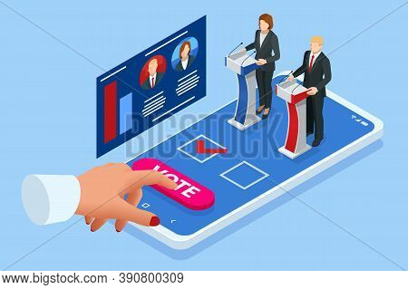 Isometric Online Voting And Election Concept. E-voting, Election Internet System. Smartphone With Vo
