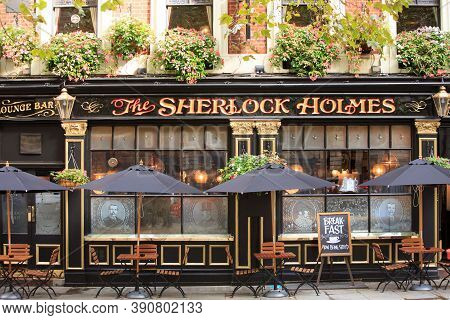 Sherlock Holmes Public House, London, 2020. It Is A Traditional English Pub Serving Pints And Pub Fo