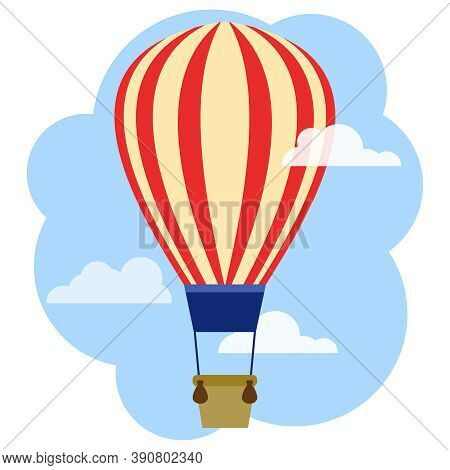Hot Air Balloon, Flying Hot Air Balloon On The Background Of The Sky And Clouds. Vector, Cartoon Ill