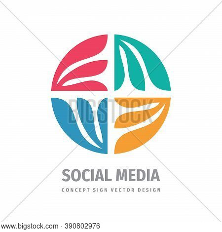 Social Media Concept Business Development Logo Design. Arrows Communication Sign. Business Investmen