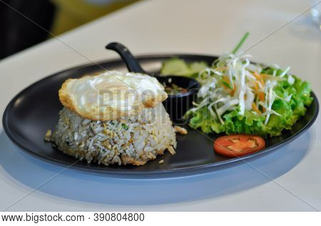 Ried Rice Or Stir Fried Rice With Fried Egg And Vegetable
