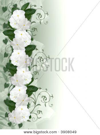 White Flowers Border Periwinkle Invitation