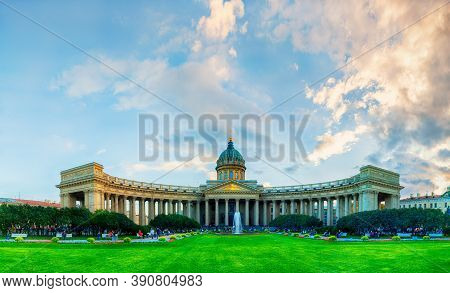 St Petersburg, Russia - October 3, 2016. Kazan Cathedral In St Petersburg Russia, Sunset View Of St