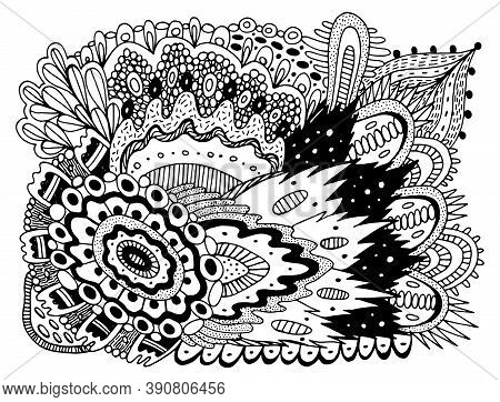 Trippy Doodle Pattern For Coloring Book For Adults. Coloring Page With Floral Motifs. Psychedelic Te
