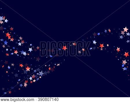 American Patriot Day Stars Background. Holiday Confetti In Us Flag Colors For President Day.  Festiv