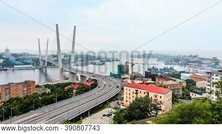 Cable-stayed Bridge Golden Bridge In Vladivostok, Russia