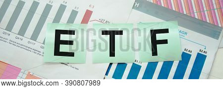 Etf, Exchange-traded Fund An Investment Fund Traded On Stock Exchanges Concept, Multi Color Arrows P