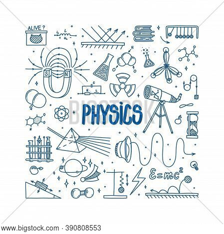 Physics Doodle With Magnet, Prism, Telescope, Atom And Different Experiments. Hand Drawn Science Ite
