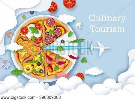 Culinary Tourism Vector Poster, Banner Template. Paper Cut Plane Flying Out Of Big Italian Pizza. Wo