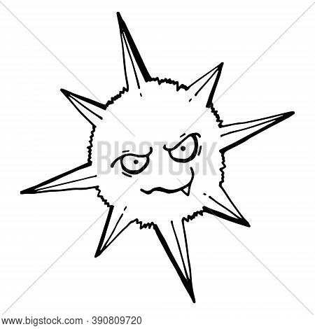 Virus Line Icon. Outline Thin Line Flat Illustration. Isolated. Vector Outline Of A Virus With An In