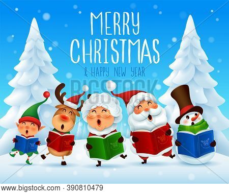 Merry Christmas! Christmas Carol. Choir. Vector Illustration Of Christmas Character On Snow Scene.