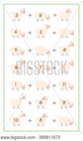 Addition Game Sheet, Simple Math Fun With Comic Sheep. Isolated Vector Illustration On White Backgro