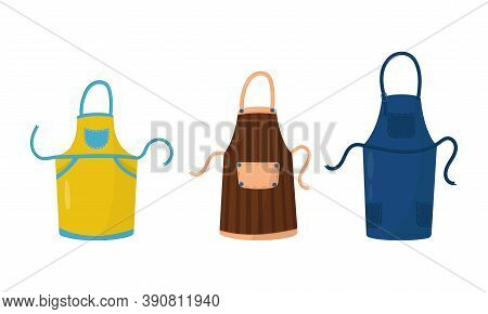 Kitchen Aprons As Cooking Garment With Pocket And Strips Vector Set