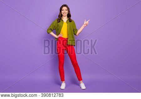 Full Length Body Size View Of Her She Nice Attractive Confident Cheerful Wavy-haired Girl Demonstrat