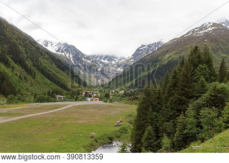 Mountain Panorama And Valley In Tyrol Alps, Austria