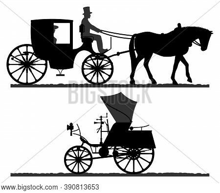 Retro Transport Silhouettes. Silhouette Of A Horse-drawn Carriage With A Coachman. Retro Car Silhoue