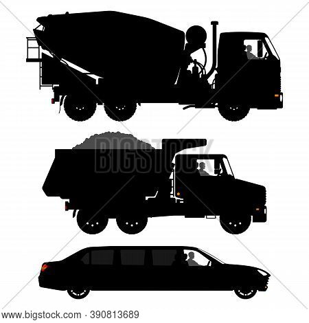 Set Of Different Transport Silhouettes. Black Truck Silhouette Isolated On White Background. Limousi