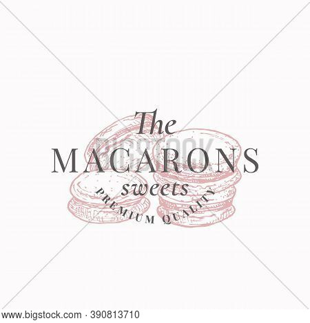 Premium Macarons Sweets. Confectionary Abstract Sign, Symbol Or Logo Template. Hand Drawn Cakes And