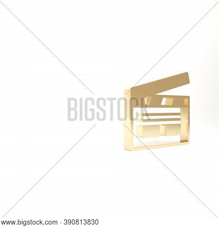 Gold Bollywood Indian Cinema Icon Isolated On White Background. Movie Clapper. Film Clapper Board. C