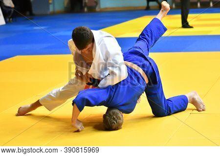 Orenburg, Russia - 21 October 2017: Boys Compete In Judo