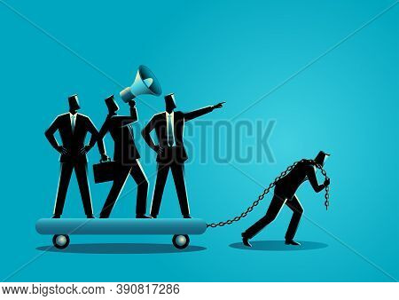 Business Concept Vector Illustration Of A Businessman Dragging His Bossy Coworkers Alone